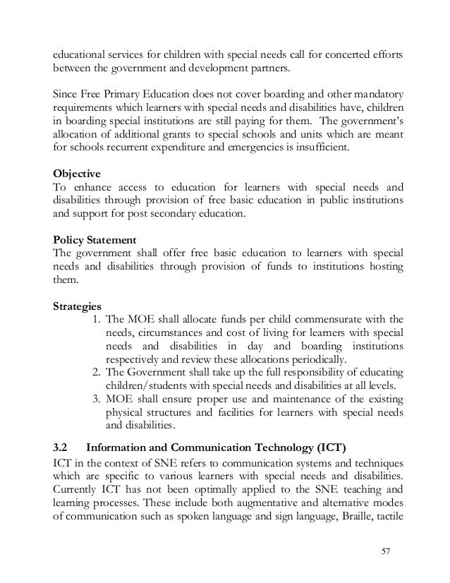 educational services for children with special needs call for concerted efforts between the government and development par...