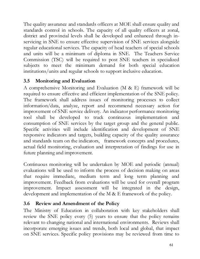Special needs education policy framework 2009 - Kenya