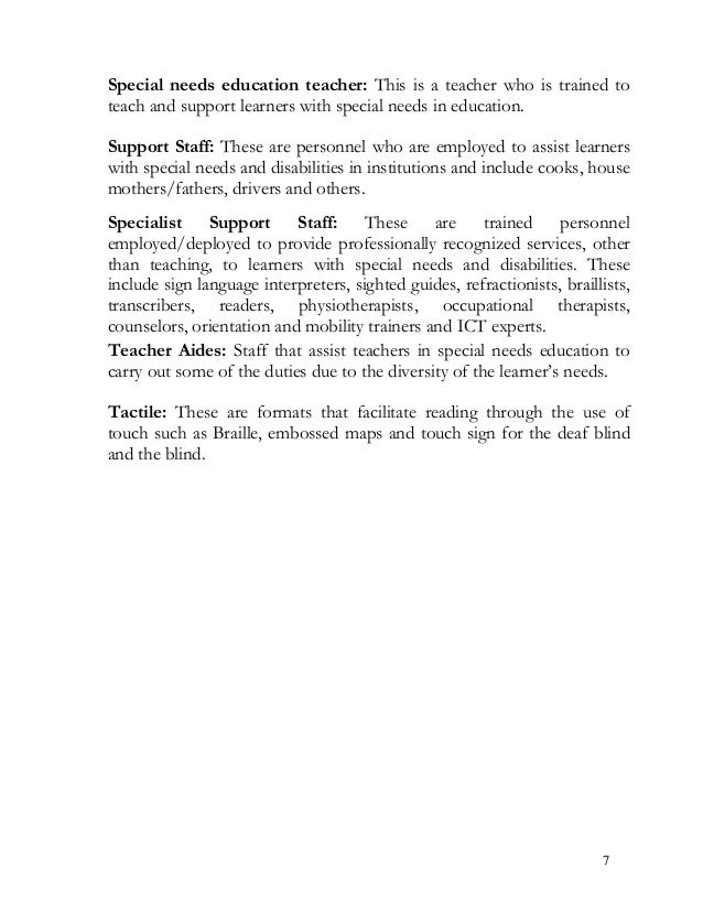 Special needs education teacher: This is a teacher who is trained to teach and support learners with special needs in educ...