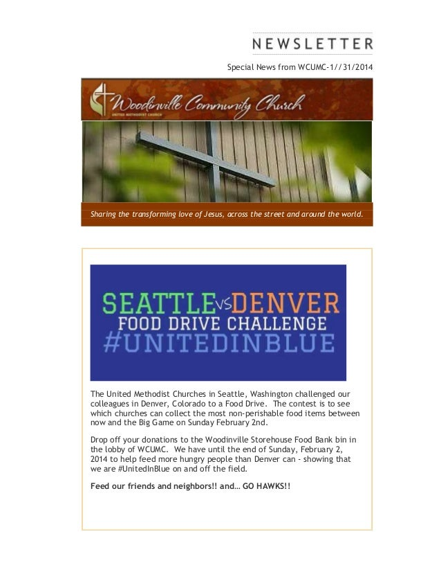Special News from WCUMC-1//31/2014  Sharing the transforming love of Jesus, across the street and around the world.  The U...
