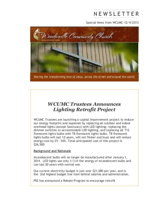 Special News from WCUMC-12/4/2013  Sharing the transforming love of Jesus, across the street and around the world.  WCUMC ...