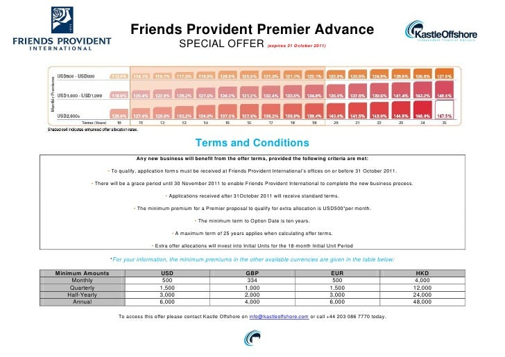 Friends Provident Premier Advance                                              SPECIAL OFFER (expires 31 October 2011)    ...