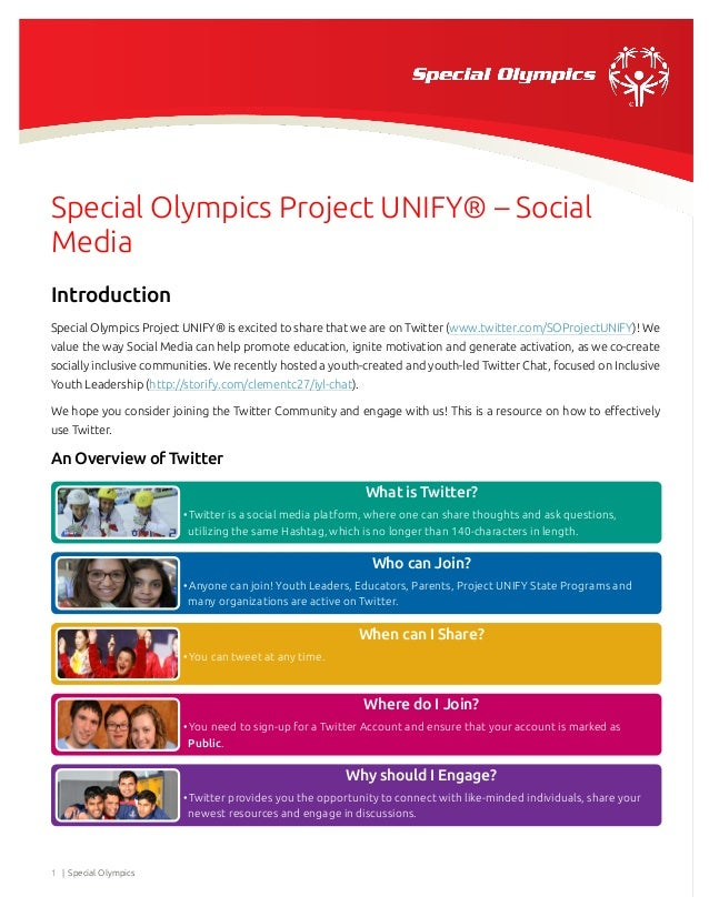 Special Olympics Project UNIFY® – Social Media Introduction Special Olympics Project UNIFY® is excited to share that we ar...