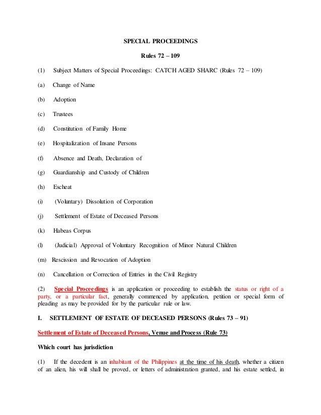 Special proceedings reviewer special proceedings rules 72 109 1 subject matters of special proceedings catch spiritdancerdesigns Gallery