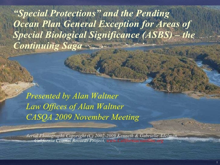 """ Special Protections"" and the Pending Ocean Plan General Exception for Areas of Special Biological Significance (ASBS) – ..."