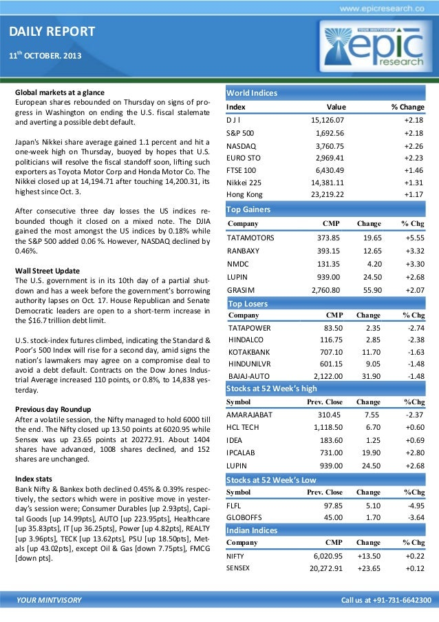 DAILY REPORT 11th OCTOBER. 2013 YOUR MINTVISORY Call us at +91-731-6642300 Global markets at a glance European shares rebo...