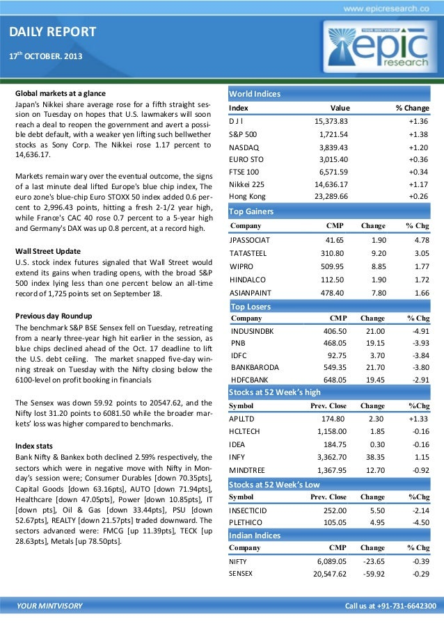 DAILY REPORT 17th OCTOBER. 2013  Global markets at a glance Japan's Nikkei share average rose for a fifth straight session...