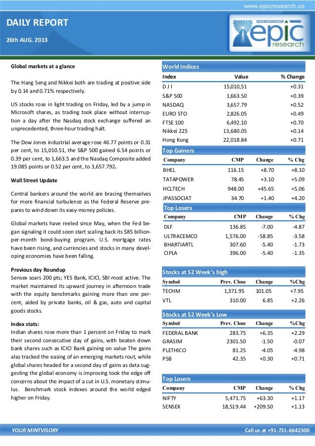 DAILY REPORT 26th AUG. 2013 YOUR MINTVISORY Call us at +91-731-6642300 Global markets at a glance The Hang Seng and Nikkei...