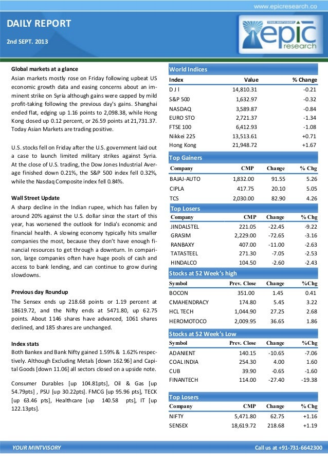 DAILY REPORT 2nd SEPT. 2013 YOUR MINTVISORY Call us at +91-731-6642300 Global markets at a glance Asian markets mostly ros...