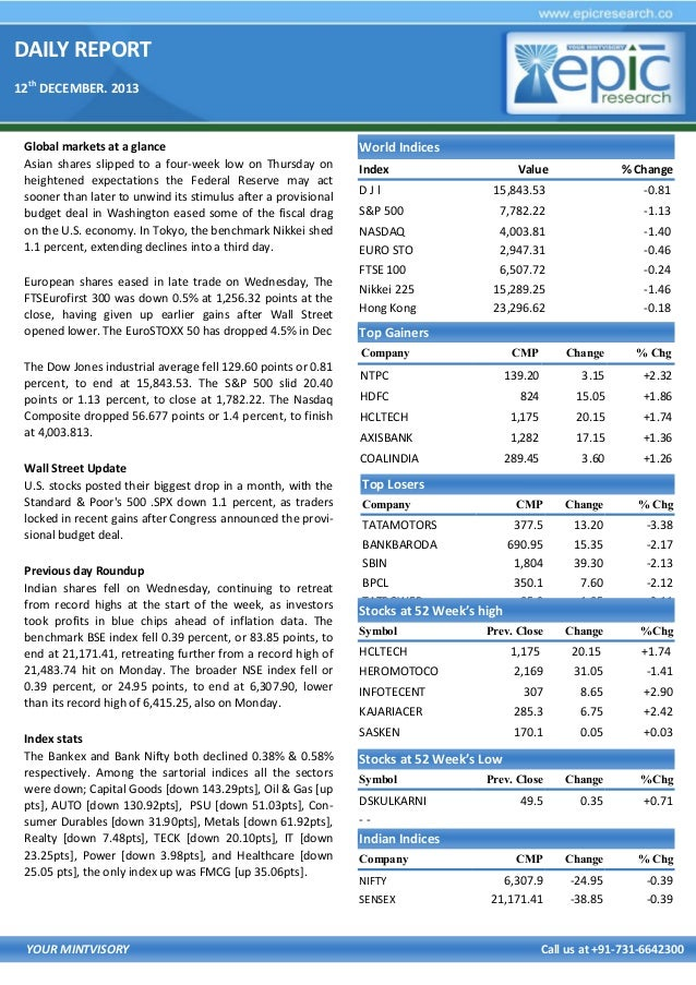 DAILY REPORT 12th DECEMBER. 2013  Global markets at a glance Asian shares slipped to a four-week low on Thursday on height...