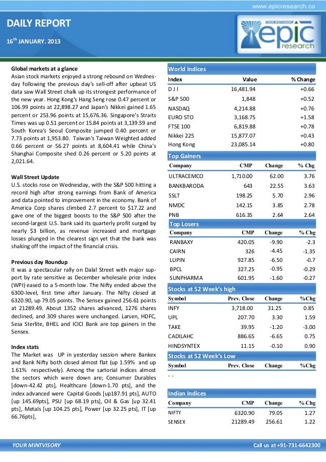 DAILY REPORT 16th JANUARY. 2013  Global markets at a glance Asian stock markets enjoyed a strong rebound on Wednesday foll...