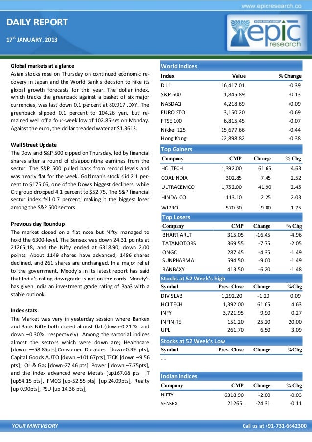 DAILY REPORT 17st JANUARY. 2013  Global markets at a glance Asian stocks rose on Thursday on continued economic recovery i...