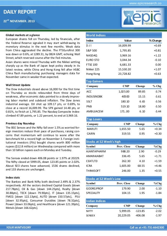 DAILY REPORT 22nd NOVEMBER. 2013  Global markets at a glance European shares fell on Thursday, led by financials, after th...