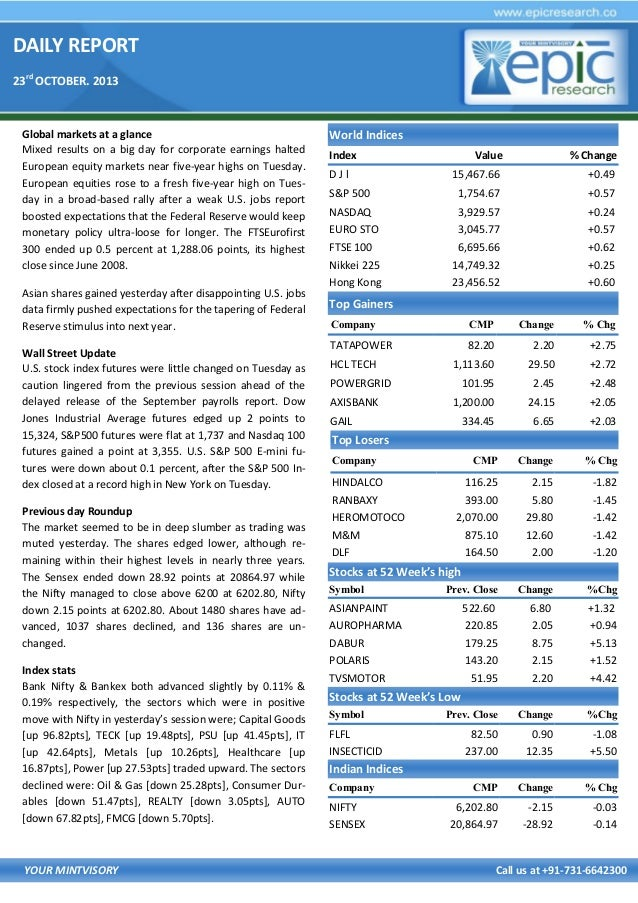 DAILY REPORT 23rd OCTOBER. 2013  Global markets at a glance Mixed results on a big day for corporate earnings halted Europ...
