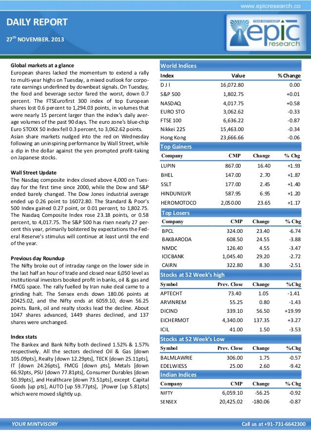 DAILY REPORT 27th NOVEMBER. 2013  Global markets at a glance European shares lacked the momentum to extend a rally to mult...