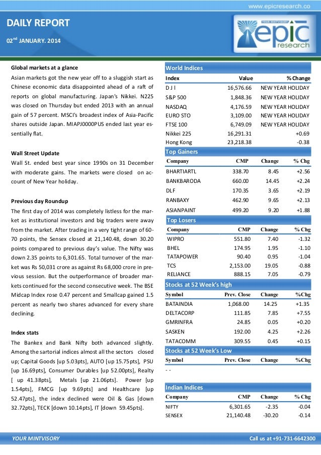 DAILY REPORT 02nd JANUARY. 2014  Global markets at a glance  World Indices  Asian markets got the new year off to a sluggi...