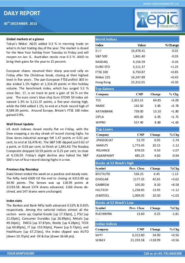 DAILY REPORT 30th DECEMBER. 2013  Global markets at a glance Tokyo's Nikkei .N225 added 0.3 % in morning trade on what is ...