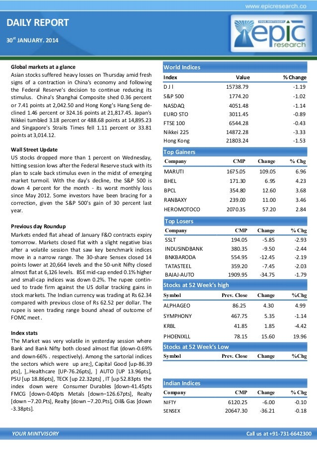 DAILY REPORT 30st JANUARY. 2014  Global markets at a glance Asian stocks suffered heavy losses on Thursday amid fresh sign...