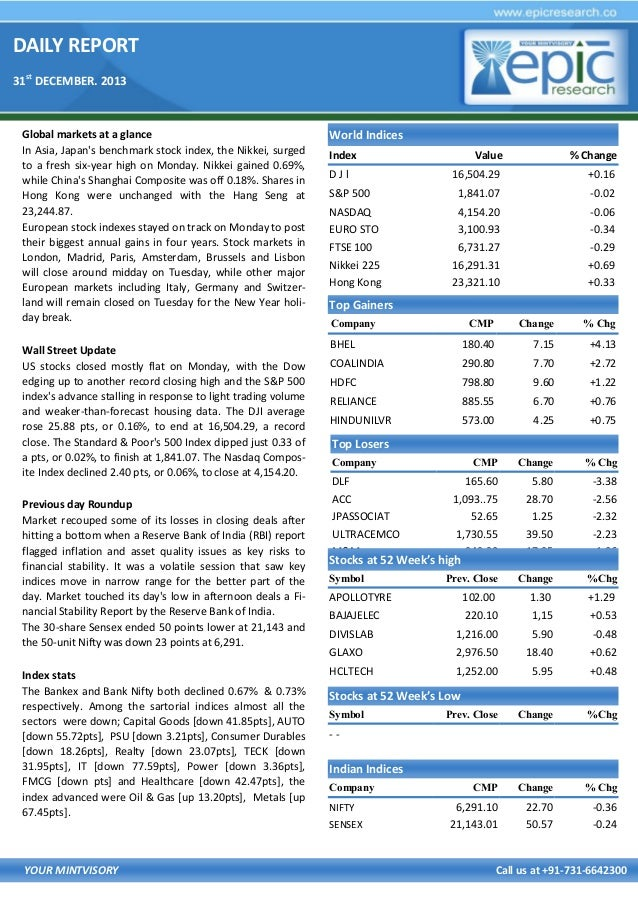DAILY REPORT 31st DECEMBER. 2013  Global markets at a glance In Asia, Japan's benchmark stock index, the Nikkei, surged to...