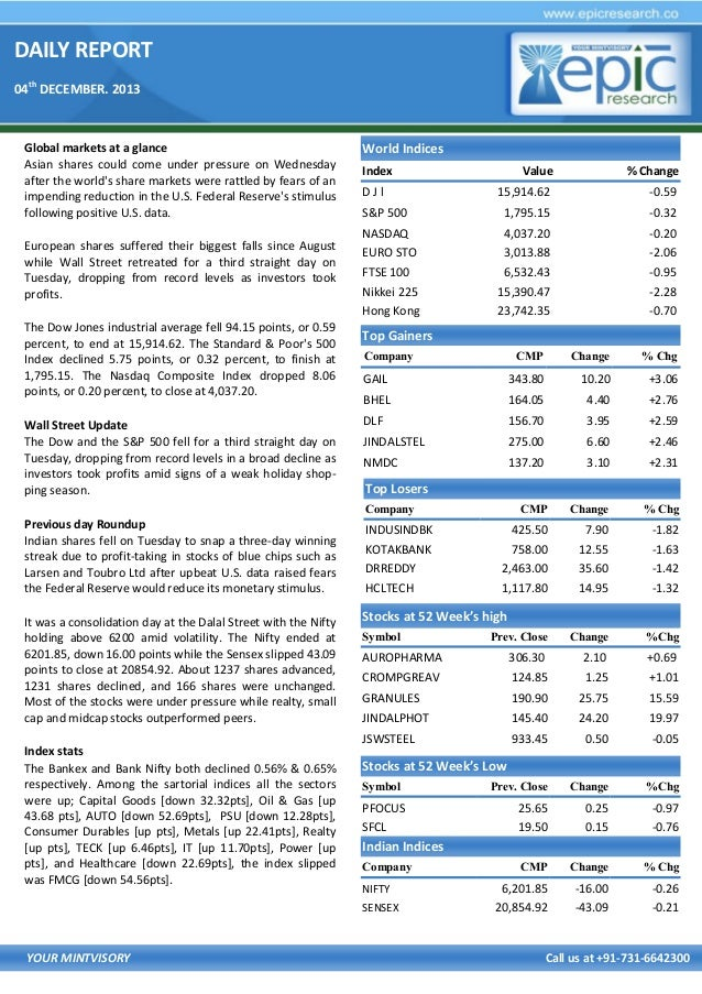 DAILY REPORT 04th DECEMBER. 2013  Global markets at a glance Asian shares could come under pressure on Wednesday after the...