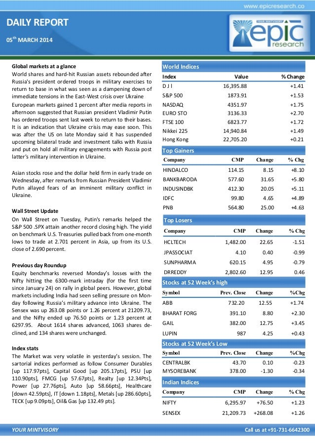 DAILY REPORT 05th MARCH 2014  Global markets at a glance World shares and hard-hit Russian assets rebounded after Russia's...