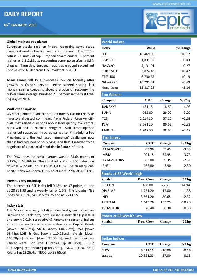 DAILY REPORT 06th JANUARY. 2013  Global markets at a glance European stocks rose on Friday, recouping some steep losses su...