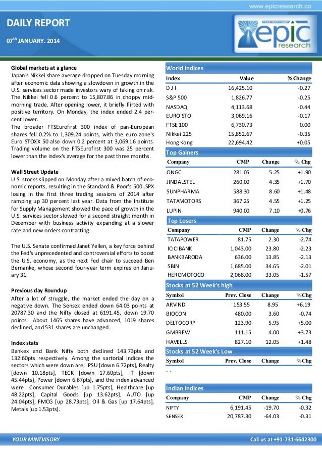 DAILY REPORT 07th JANUARY. 2014  Global markets at a glance Japan's Nikkei share average dropped on Tuesday morning after ...