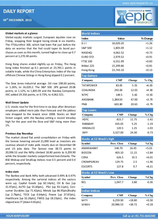 DAILY REPORT 09th DECEMBER. 2013  Global markets at a glance Global equity markets surged. European equities rose on Frida...