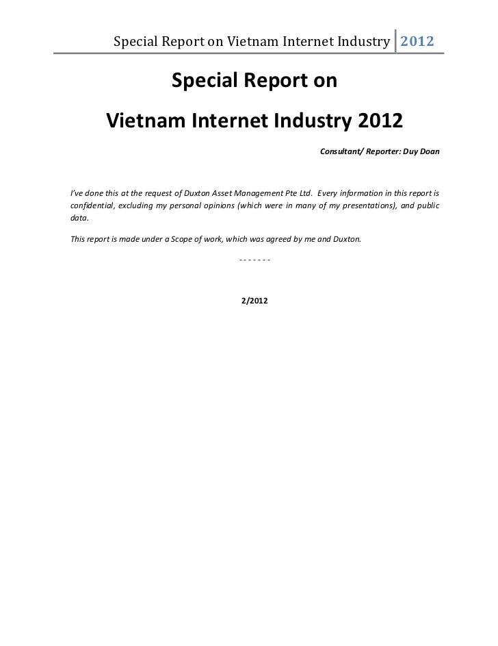 Special Report on Vietnam Internet Industry 2012                           Special Report on         Vietnam Internet Indu...