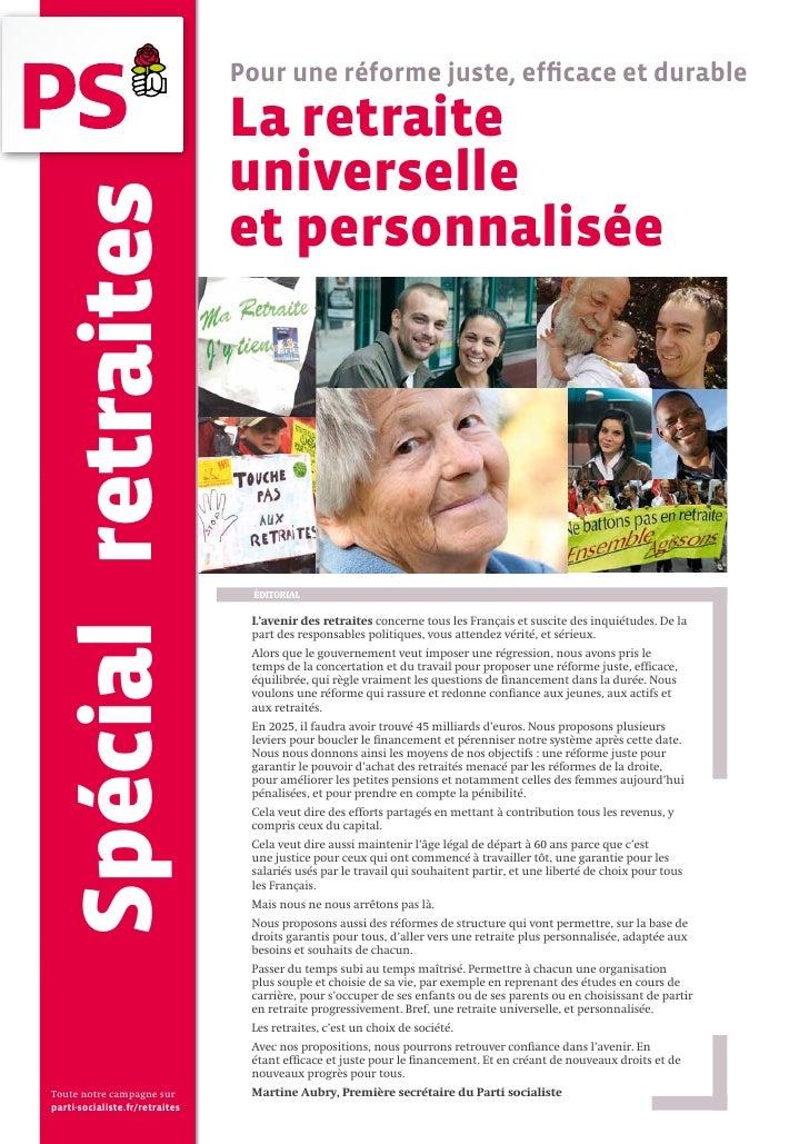 Pour une réforme juste, efficace et durable                                  La retraite                                 u...