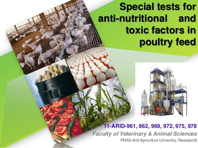 Special tests foranti-nutritional andtoxic factors inpoultry feed11-ARID-961, 962, 969, 972, 975, 978Faculty of Veterinary...