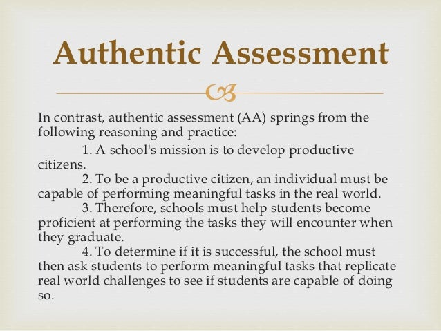special topics authentic assessment