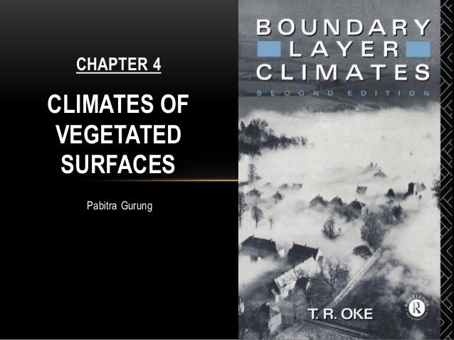 Pabitra Gurung CHAPTER 4 CLIMATES OF VEGETATED SURFACES