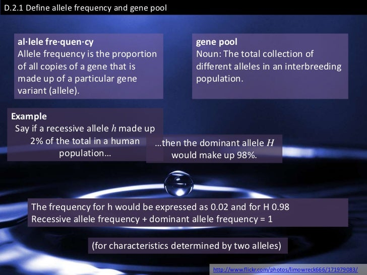 D.2.1 Define allele frequency and gene pool   al·lele fre·quen·cy                          gene pool   Allele frequency is...