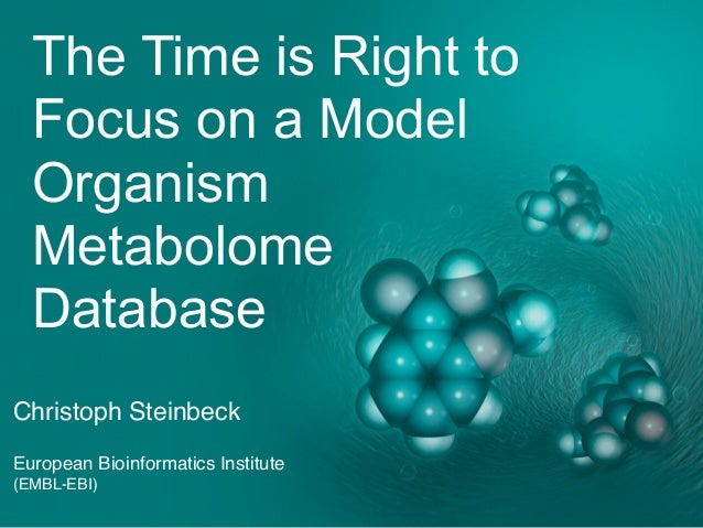 The Time is Right to Focus on a Model Organism Metabolome Database Christoph Steinbeck European Bioinformatics Institute (...
