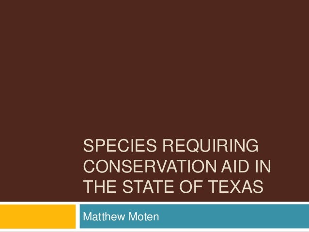 SPECIES REQUIRING CONSERVATION AID IN THE STATE OF TEXAS Matthew Moten