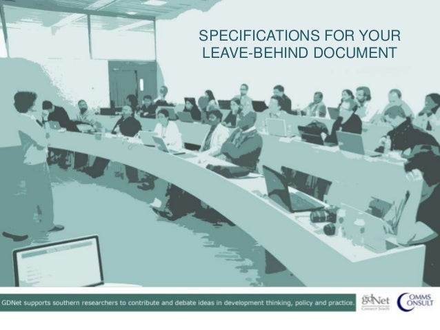 SPECIFICATIONS FOR YOURLEAVE-BEHIND DOCUMENT