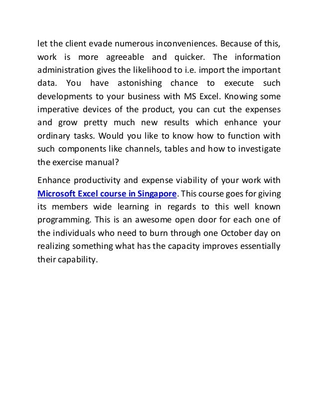 Specification Of Microsoft Excel Course In Singapore
