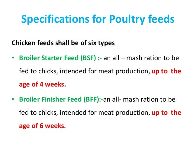 Specifications Of Feed Ingredients And Finished Feeds Bis Standard