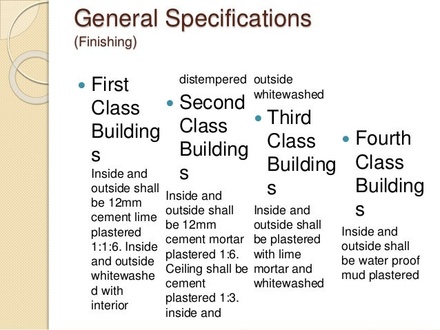 Specifications Of Buildings