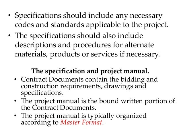 how to write construction specifications