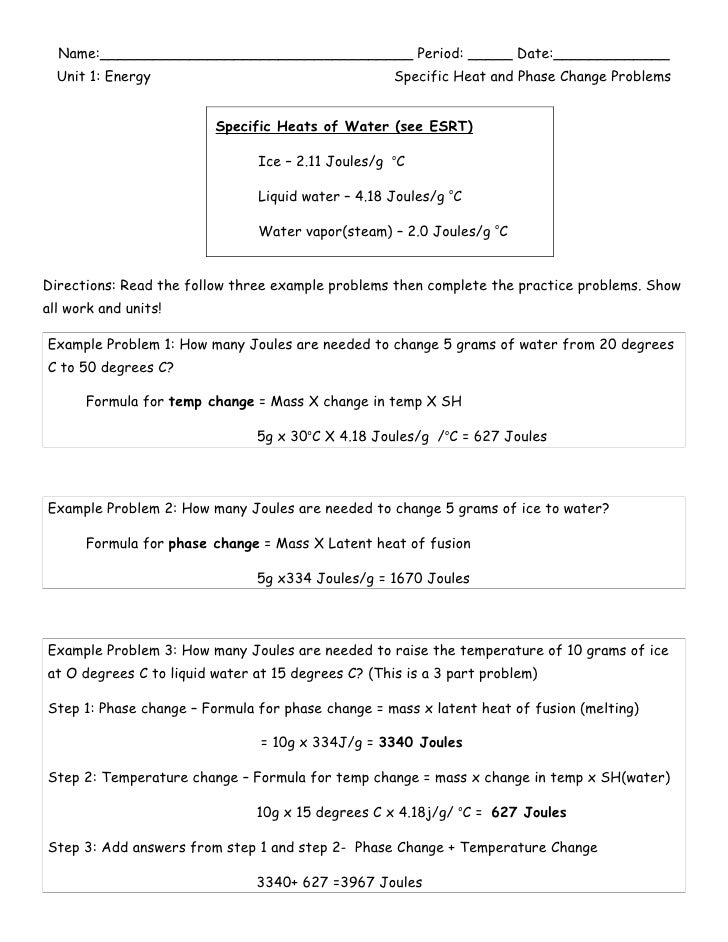 Phase Change Worksheets With Answers Worksheet Printable Blog – Phase Change Worksheet Answers