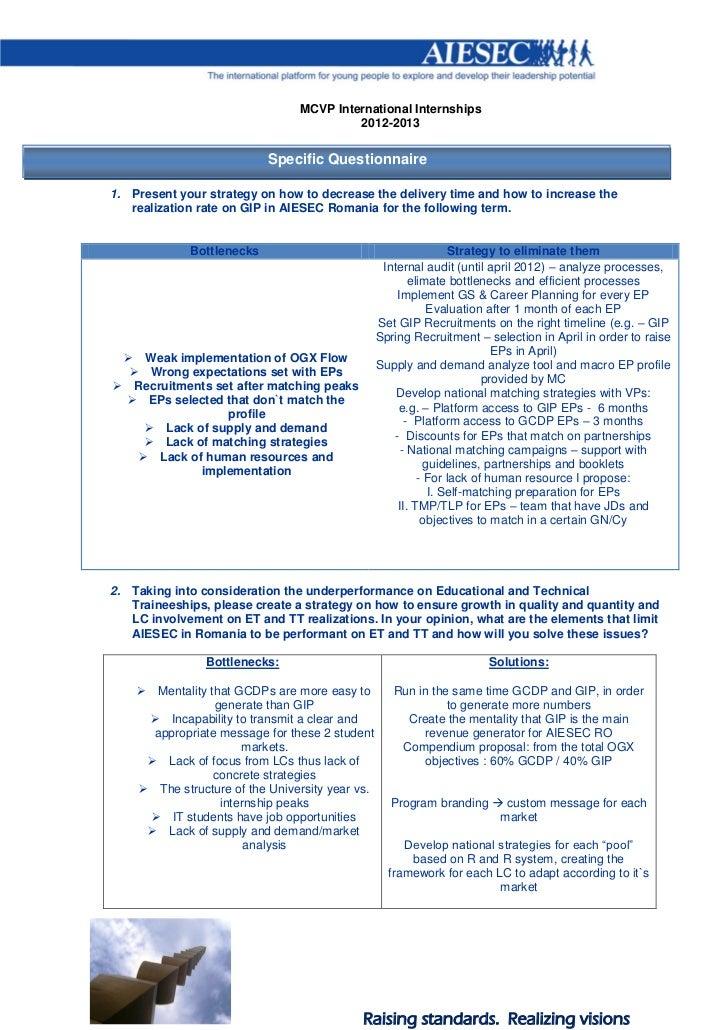 MCVP International Internships                                         2012-2013                           Specific Questi...