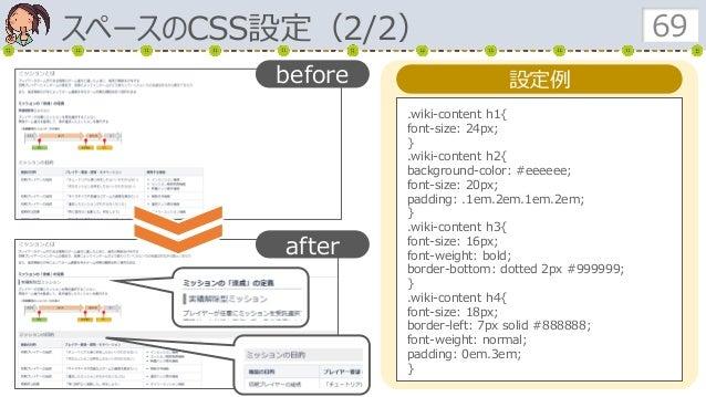 スペースのCSS設定(2/2) 69 設定例 .wiki-content h1{ font-size: 24px; } .wiki-content h2{ background-color: #eeeeee; font-size: 20px; ...