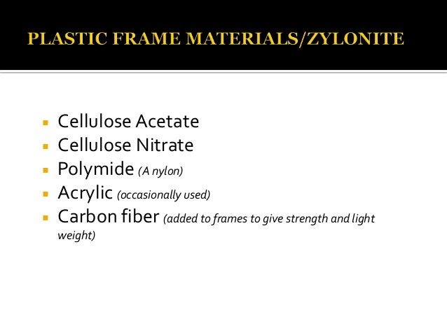 Spectacle frame materials