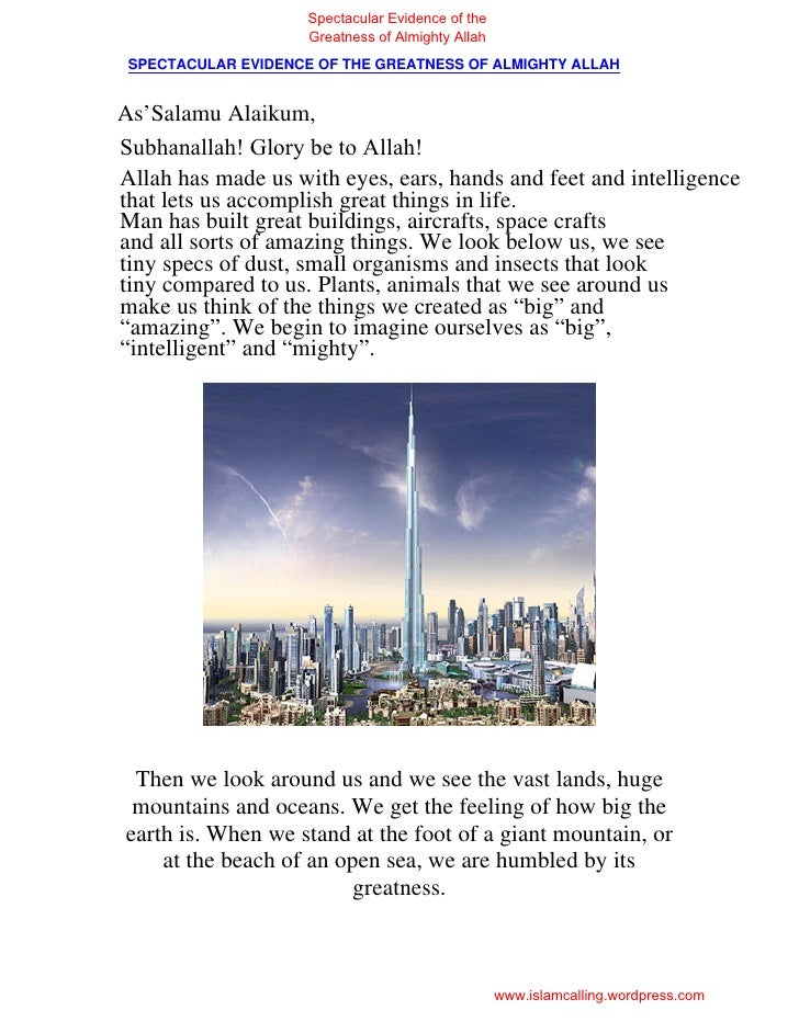 Spectacular Evidence of the                     Greatness of Almighty Allah SPECTACULAR EVIDENCE OF THE GREATNESS OF ALMIG...