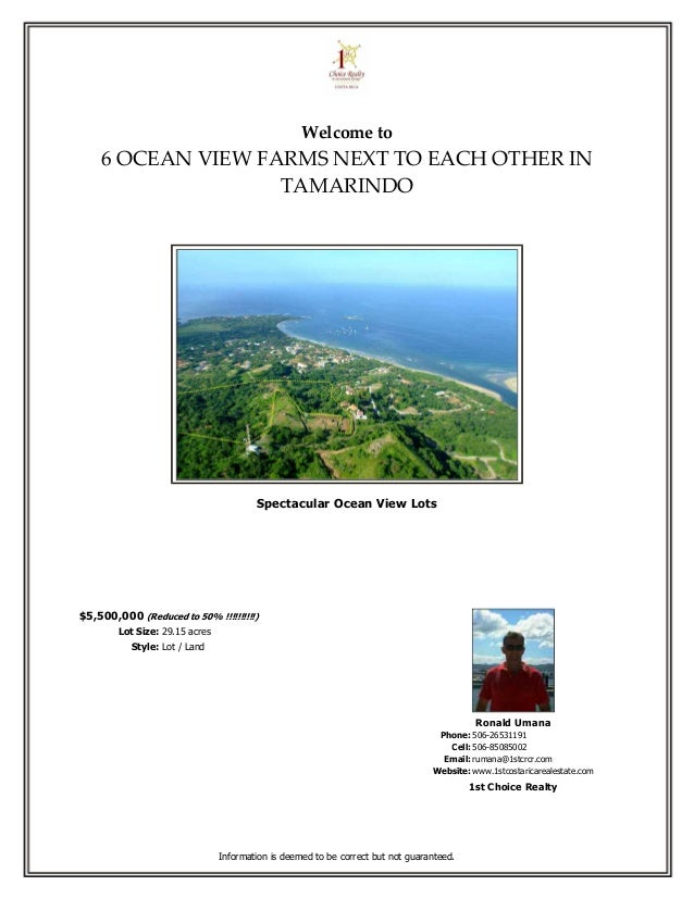 Welcome to    6 OCEAN VIEW FARMS NEXT TO EACH OTHER IN                   TAMARINDO                                        ...