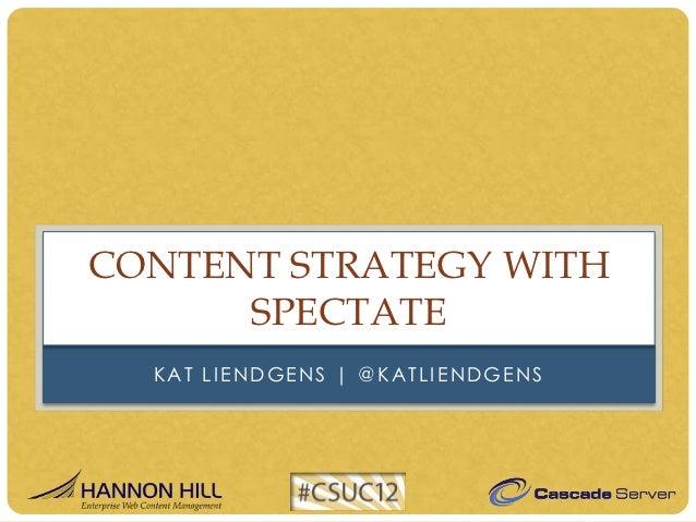 CONTENT STRATEGY WITH      SPECTATE  KAT LIENDGENS | @KATLIENDGENS