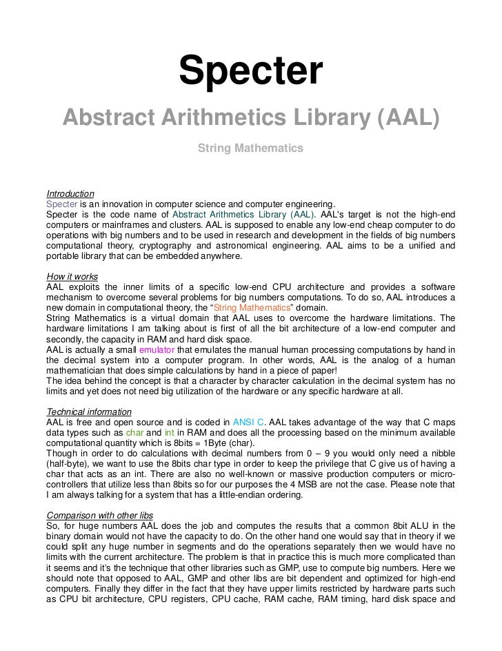 Specter   Abstract Arithmetics Library (AAL)                                      String MathematicsIntroductionSpecter is...