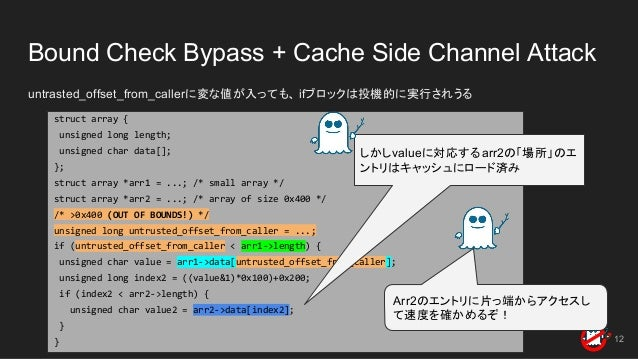 Bound Check Bypass + Cache Side Channel Attack untrasted_offset_from_callerに変な値が入っても、 ifブロックは投機的に実行されうる 12 struct array { ...